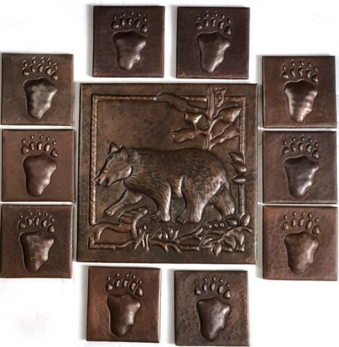 """Hand Hammered Copper Tile 1-10""""x 10"""" Bear and 10-4""""x 4"""" Paw Tiles Set of 11"""