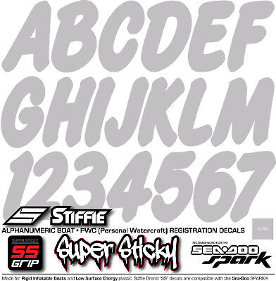 STIFFIE Whip-One WO04-SS Sea-Doo Spark Boat Registration Numbers Decals SILVER