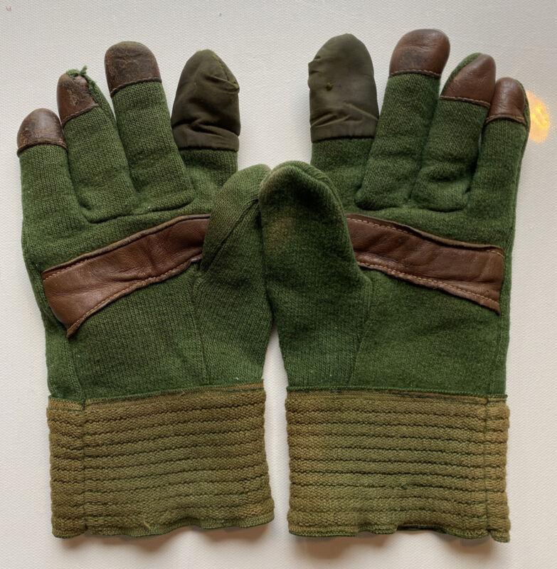 Vintage Morris Feel Green Wool Shooting Hunting Gloves Leather Nylon Tips Sz M