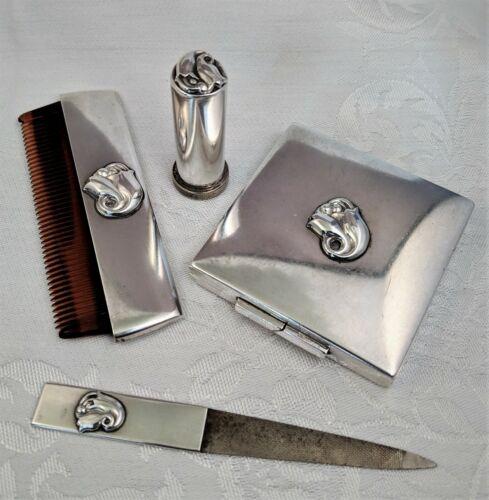 Antique Vtg. Georg Jensen Sterling Silver Comb, File, Lipstick & Powder Case Set