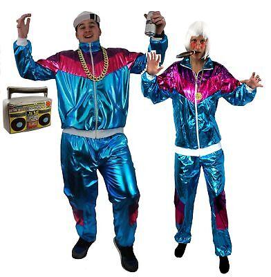 Zuhälter Kostüme (RAPPER SHELL SUIT RETRO KOSTÜM ZUHÄLTER RAPPER KOSTÜM  VERKLEIDUNG UNISEX PARTY )