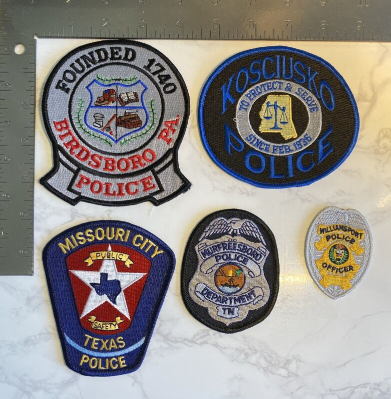 SET OF 5 USA POLICE PATCHES Missouri, Pennsylvania, Tennessee