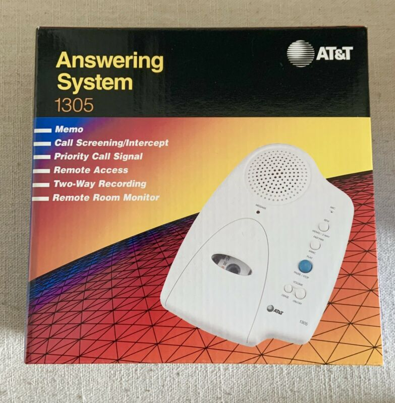 AT&T Vintage Answering Machine New #1305 Micro Cassette Memo Two-Way Recording