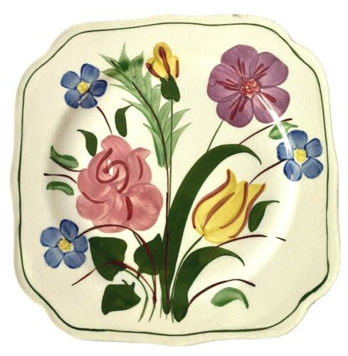 Blue Ridge Pottery Plate Square Vintage Mid Century Bluebell Bouquet Rare Retro