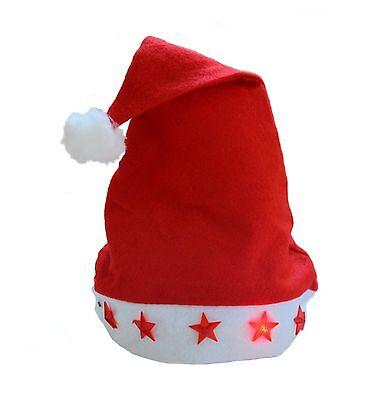 Weihnachtsmannmütze Weihnachtsmütze mit Licht + Batterie, Ø ca. 18 cm blinkend