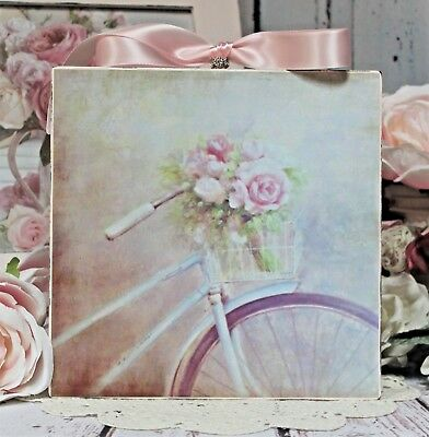 "~ Shabby Chic Mellowed Country Cottage style Wall Decor Sign ~ ""Roses & Bike"" ~"