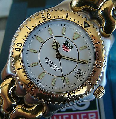AweSoMe Men TAG HeUeR SEL SPORTS ELEGANCE Watch~18K GOLD TT~SapPhiRe+SS Bracelet