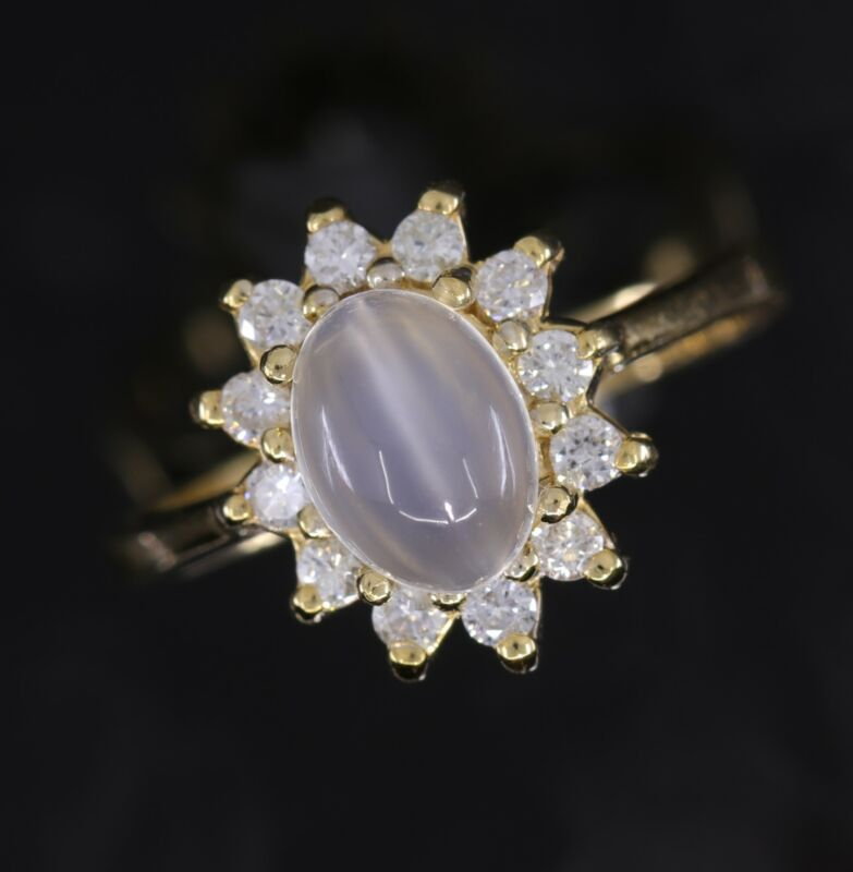 Estate Diamond and Moonstone Yellow Gold Halo Ring