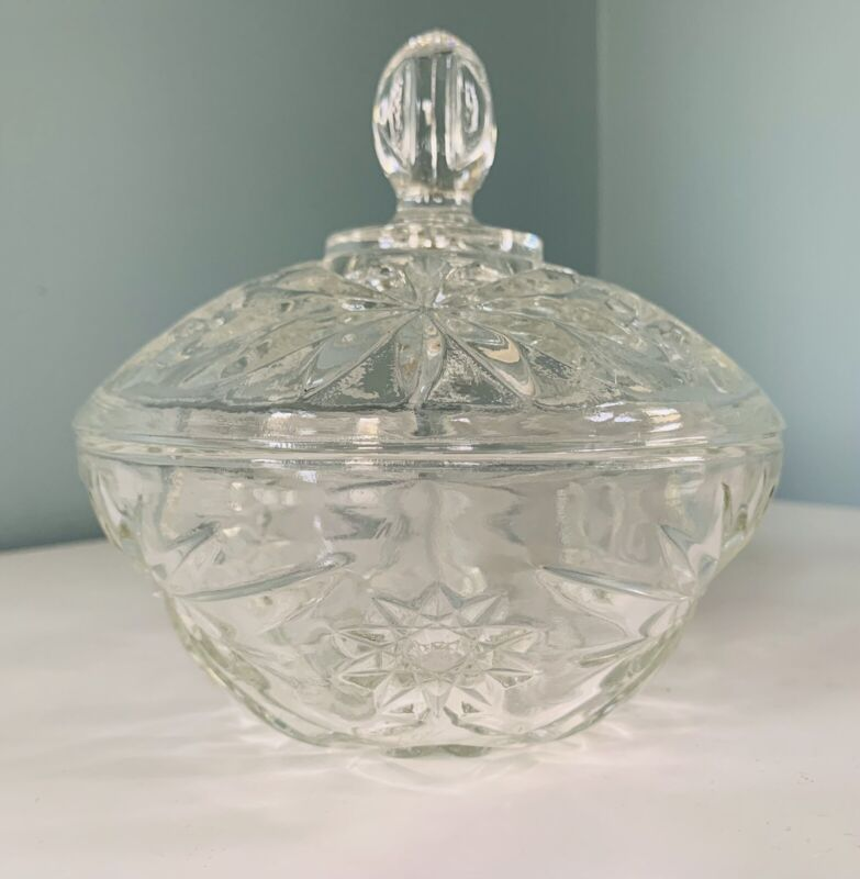Vintage Anchor Hocking Clear Glass Candy Dish Jar With Lid Star Of David