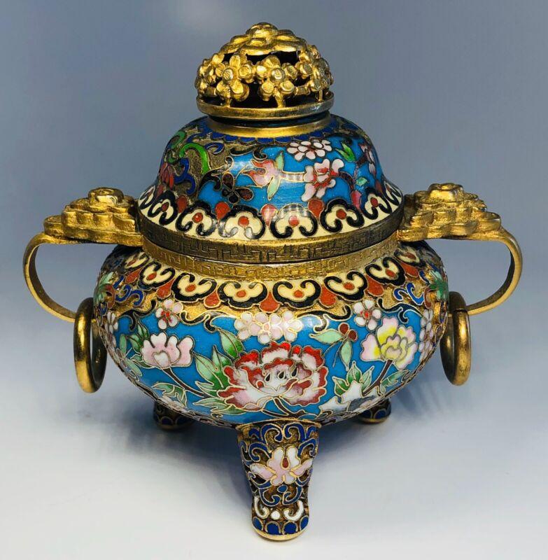 "Antique 1920s Chinese Cloisonne Incense Burner 4"""