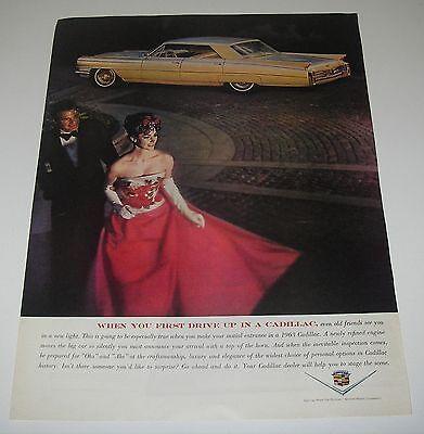 Print Ad 1963 CADILLAC Sedan de Ville 4-dr Classic Car Man Tuxedo Lady Red Gown