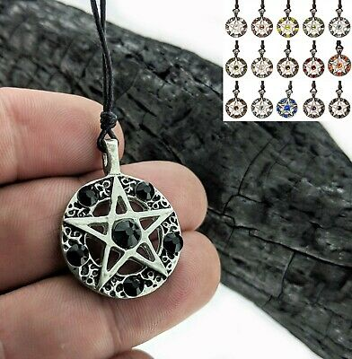 Pentagram 5 Pointed Star Silver Pewter Charm Crystal Necklace Pendant Jewelry Pentagram Silver Pewter Pendant