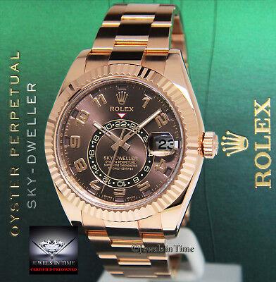Rolex Sky-Dweller 18k Everose Gold Chocolate Dial Watch Box/Card 2016 326935
