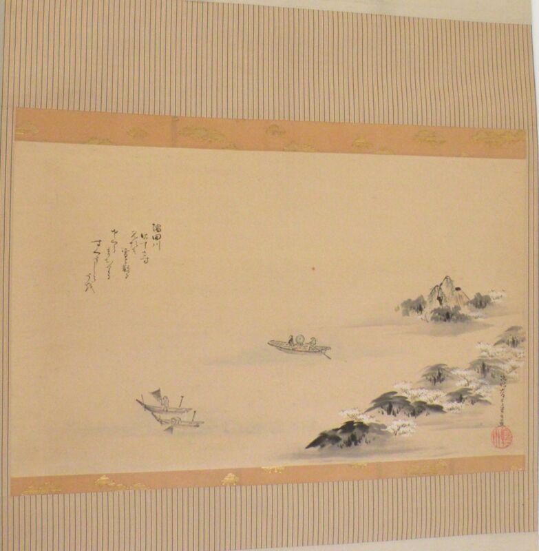 Antique Japanese Hanging Scroll painting large, Silk, Asian lake fisherman scene