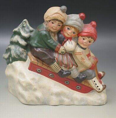 VAILLANCOURT STUDIO DESIGN THREE CHILDREN ON A SLED 1996 ANTON REICHE MOLD CHALK Studio Cast Designs