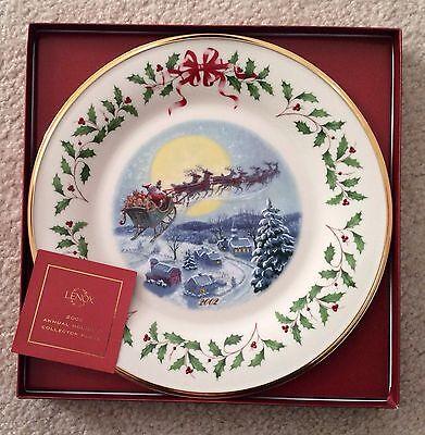 Lenox 2002 Annual Holiday Collector Plate Santas Ride First Quality Nib W Coa