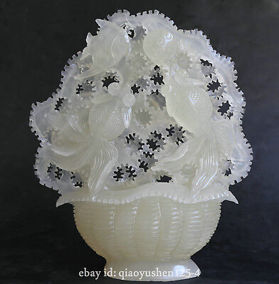"""9.6"""" Chinese Natural White Jade Carved Animal Fish Goldfish Lotus Basket Statue for sale  Shipping to Canada"""