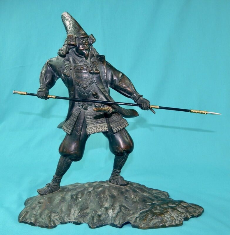 Antique Japan Japanese Signed Bronze Samurai Warrior Statue Sculpture Figurine
