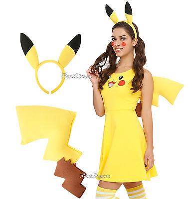 Pokemon GO PIKACHU Adult Headband Ears Plush Tail Costume Cosplay Outfit Kit NEW