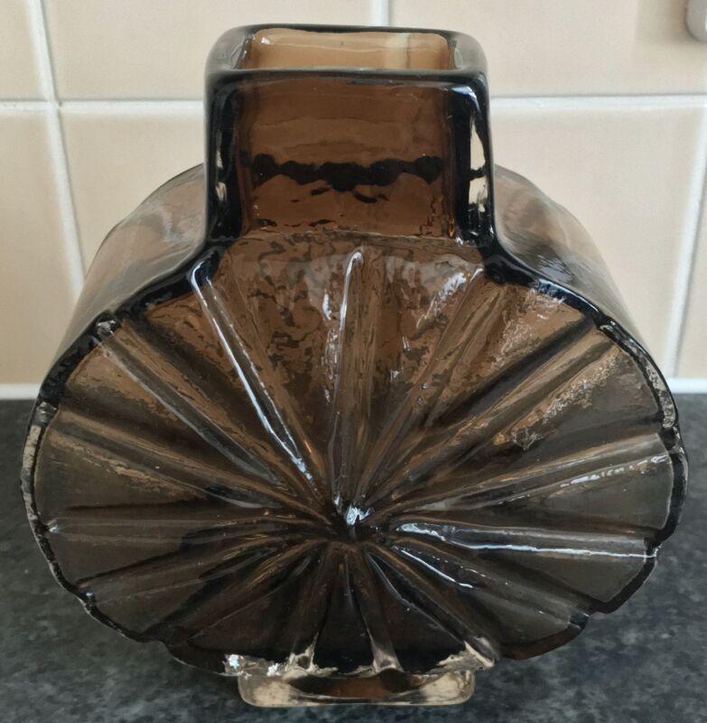 cinnamon WHITEFRIARS GEOFFREY BAXTER SUNBURST ART GLASS VASE