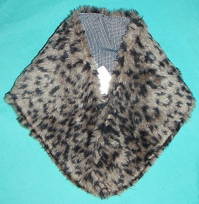 Brown Faux Fur Stole w Check Lining for My Size Barbie Doll or Small Child MYC35