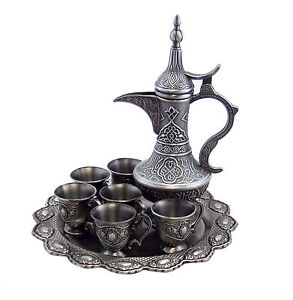 Arabic Bedouin Pewter Coffee Tea Service Set Beautiful Service Coffee Set