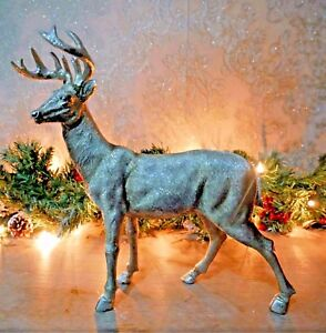 Large Standing Stag Reindeer Silver Home Decoration Sculpture Ornament Deer New