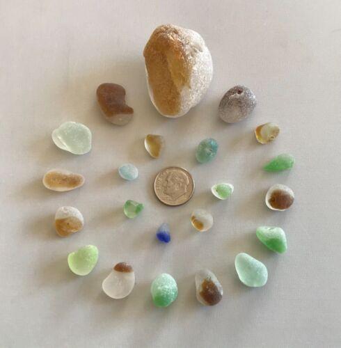 Genuine Beach Sea Bonfire Glass Unique Beautiful Colors Surf-tumbled Multi