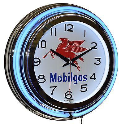 Mobilgas 15  Blue Double Neon Clock Gas Station Garage Man Cave Wall Decor