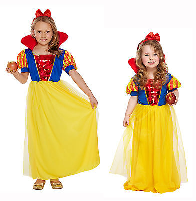 Snow White Fairy Tale Dressing Up Costume Book Week Fancy Dress Girls 3-12 Yrs