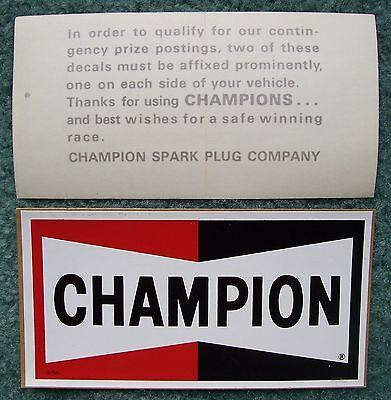 2 NOS CHAMPION Spark Plugs Decals/Stickers-Original Vintage 1960's-1970's Racing