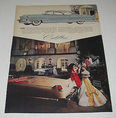Print Ad 1956 CADILLAC Coupe DeVille Classic Car Greenbrier Lanvin Castillo Gown