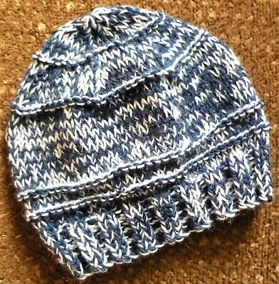 BABY BEANIE. HAND-KNITTED BY ME. WOOL MIX. DENIM BLUE. CUTE AND FUN. BOY/GIRL