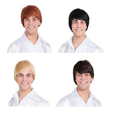 Mens Ginger Wig (Adult Mens 1960s Black / Blonde / Brown / Ginger Wigs Fancy Dress)