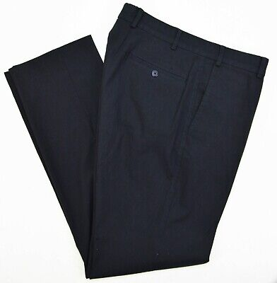 Ivory Incotex Inside Navy Cotton Microstripe Slim Flat Front Trousers Pants 34