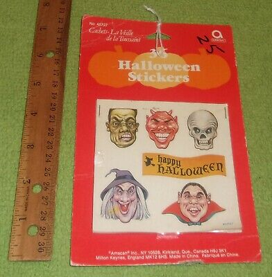 Vintage Amscan 36 Halloween Sticker Sheets Horror Decor Witches Vampires