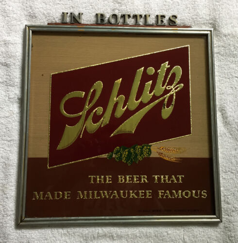 VTG Schlitz In Bottles The Beer That Made Milwaukee Famous Sign Glass & Metal