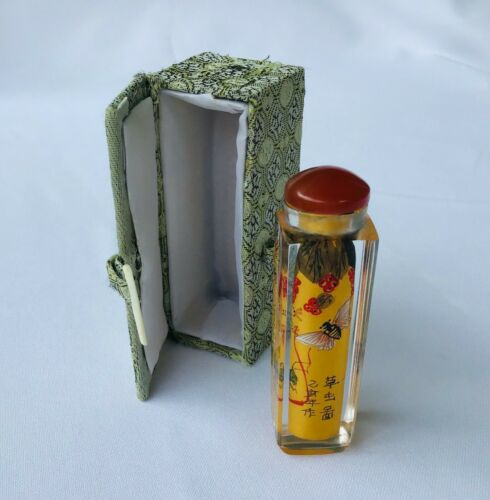 Fine Vintage, Chinese, Reverse Painted Glass Perfume / Snuff Bottle