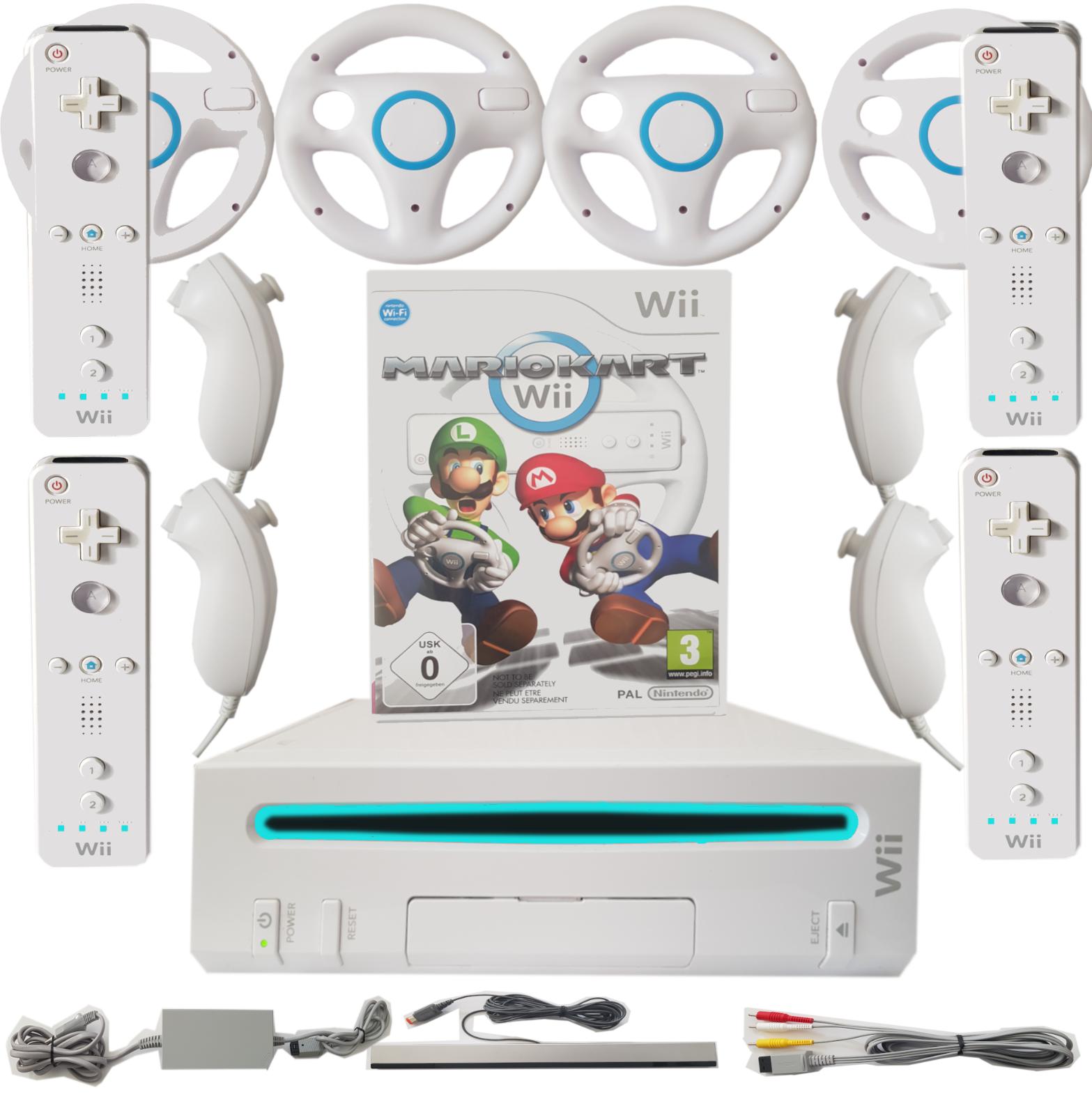 Nintendo Wii Set + Mario Kart, Wii Fit, Party Spiele + 1-4 Spieler Mega Auswahl!