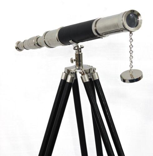 Maritime Navy Brass Telescope Silver & Leather Floor Standing Tripod Home Decor