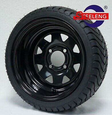 "GOLF CART 12"" BLACK STEEL WHEELS and 215/35-12 DOT LOW PROFILE TIRES(4)"