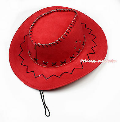 Teen Adult Size Hot Red Western Cowboy Hat Cattleman Unisex Costume for Party