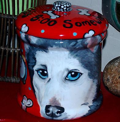 Custom Ceramic DOG TREAT Cookie Jar HUSKY urn any BREED large Unique 1 of a kind