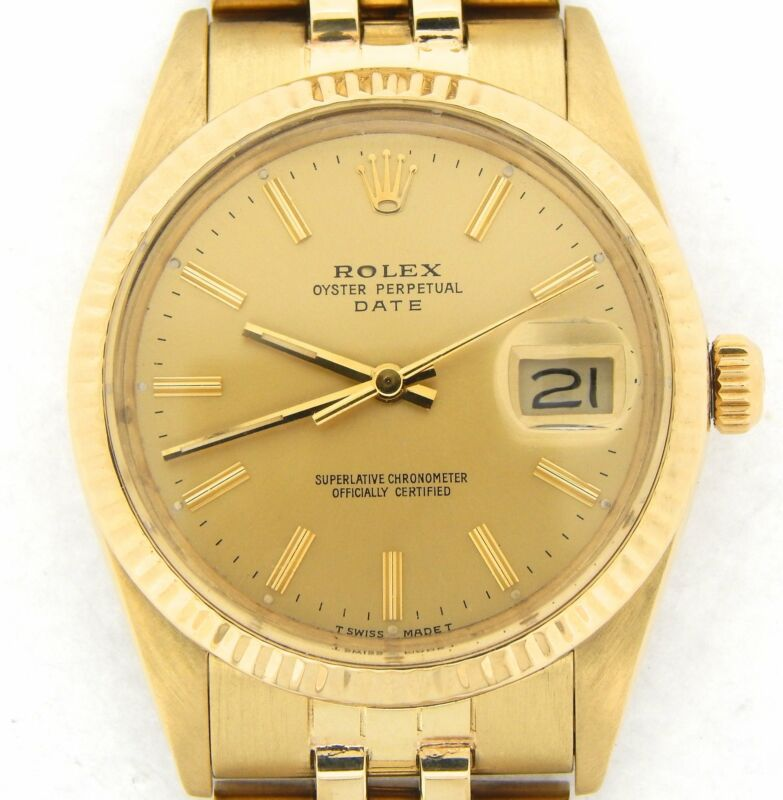 Rolex Date 15037 Mens Solid 14k Yellow Gold Watch Jubilee Band Champagne Dial