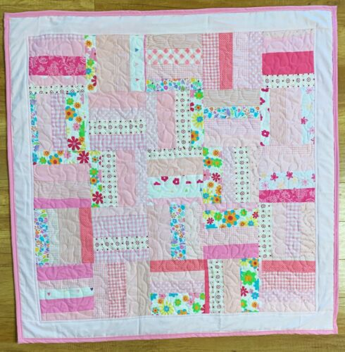 "Baby Girl Quilt Handmade Crib Blanket Pink Patchwork  42"" x 42"" New"