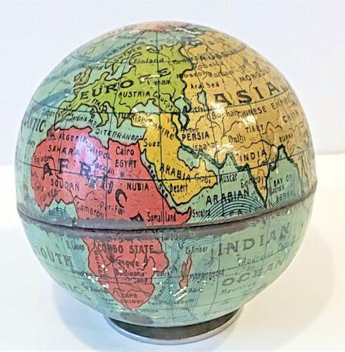 vintage c 1917 World Globe miniature tin 2+ inch Russian Empire map Persia Burma