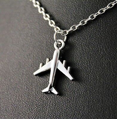 Silver Airplane/Jet Pendant Chain/Necklace w/Free Jewelry Box and (Airplane Pendant Jewelry)