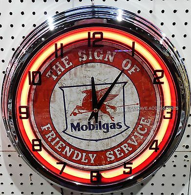 """17"""" MOBIL Mobilgas The Sign of Friendly Service Pegasus Sign Neon Clock"""