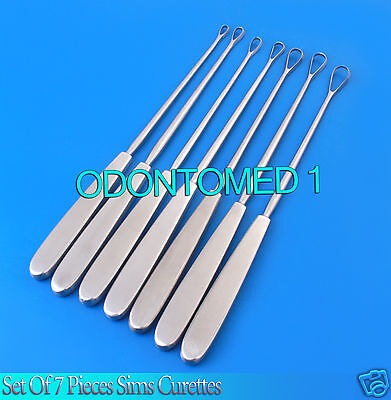 7 Sims Uterine Curettes 10.5 0123456 Sharp Surgical Instruments