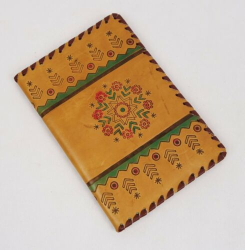 Vintage Mid Century Lithuanian Geometric Pattern Tooled Leather Notepad Cover